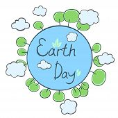 Earth Day Card. Earth With Trees And Clouds. Vector Illustration. poster
