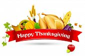 picture of fruit platter  - illustration of thanksgiving element with red ribbon - JPG