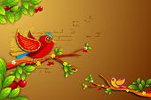 illustration of twitting colorful birds sitting on tree