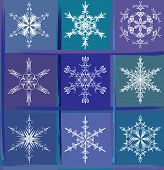 Nine snowflakes. Seamless pattern, wallpaper or textile. Vector.