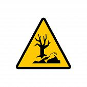 Dangerous For The Environment Yellow Triangle Sign. Dangerous For The Environment Hazard Warning Vec poster