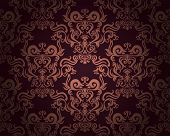 Damask seamless pattern on dark background. Could be used as repeating wallpaper, textile, wrapping paper, background, etc.