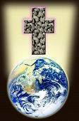 stock photo of sanctification  - cross of rock shines above world - JPG