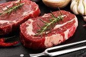 Steak Raw. Barbecue Rib Eye Steak, Dry Aged Wagyu Entrecote Steak. poster