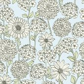 Hand drawn floral wallpaper. Could be used as seamless wallpaper, textile, wrapping paper or backgro