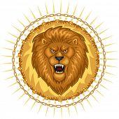 Wild Lion Roaring Head