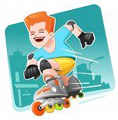 Roller Skating menino movendo-se rapidamente
