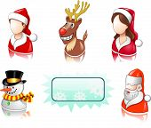 Christmas icon set with users, santa and deer