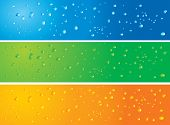 Illustration of 3 banners with water drops in different colors with slight modifications on each banners.