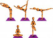 Vector figurine named Woody showing five different yoga postures to practice on a daily basis. Linea