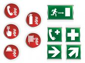 Set of ten commonly used emergency symbols.