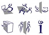 Stylish set of office icons sketch like.