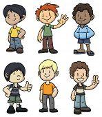 Niños de dibujos animados lindo de diferente etnia. Todo en capas separadas para poder editarlos fácilmente.