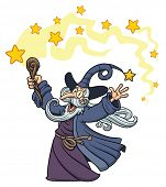 Cartoon wizard casting a spell. Character,stars and