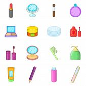 Cosmetics Items Icons Set. Cartoon Illustration Of 16 Cosmetics Items Icons For Web poster