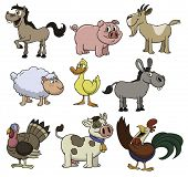 Cute cartoon farm animals. All in separate layers for easy editing.