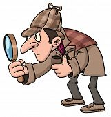 stock photo of sherlock  - Cartoon inspector holding a magnifying glass - JPG