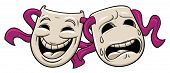 Tragedy and comedy theater masks. Both in separate layers for easy editing.