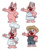 Cute cartoon pigs. All in separate layers for easy editing.