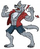 Cartoon werewolf howling.