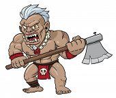 Fierce looking cartoon warrior holding an axe.