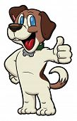 Cute cartoon beagle making the thumbs up hand sign.