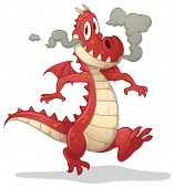 Cute cartoon red dragon. Vector illustration with simple gradients. Character and shadow on separate
