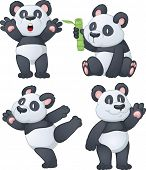 Four cartoon panda bears. Vector illustration using simple gradients. All characters are on separate