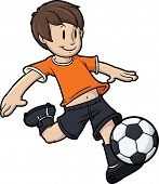 Cartoon junge Fußball spielen. Kid und Fußball Ball auf separaten Ebenen für die einfache Bearbeitung.