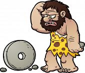 Cartoon caveman looking confused. Vector illustration with simple gradients. Caveman and wheel on se
