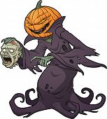 Scary Halloween pumpkin monster holding a severed zombie head. Vector illustration with simple gradi