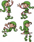 Cute cartoon Christmas elves. all in separate layers for easy editing. Vector illustration with simple gradients.