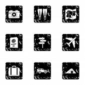 Trip To Sea Icons Set. Grunge Illustration Of 9 Trip To Sea Icons For Web poster