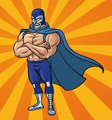 Cartoon mexican wrestler standing with crossed arms. Vector illustration with simple gradients. Char
