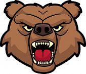 Roaring bear head. All in a single layer. No gradients