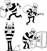 Four images of a cartoon thief. All elements in separate layers for easy editing.