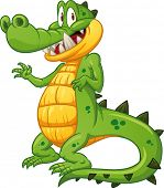 Shy crocodile waving. Vector illustration with simple gradients. All in a single layer.