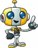 Cute cartoon robot holding finger up. Vector illustration with simple gradients. All in a single lay