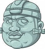 Mexican prehispanic olmec head smiling.