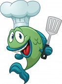 Cartoon chef fish holding a kitchen spatula. Vector illustration with simple gradients. All in a sin