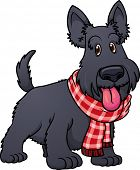 Cute cartoon scottish terrier wearing a scarf.