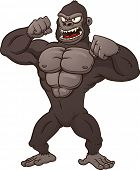 Cartoon gorilla beating his chest. Vector illustration with simple gradients. All in a single layer.