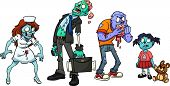 image of zombie  - Four cartoon zombies - JPG