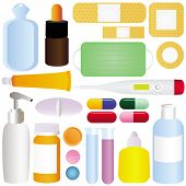 Cute vector icons: Medicines, Pills, Medical Equipments isolated on white