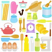 A colorful set of cute Vector Icons : Cooking, Baking Theme, isolated on white