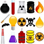 A colorful Theme of cute vector Icons : Dangerous Poison, Explosive, Chemical, Pollution (Environmental Damage)