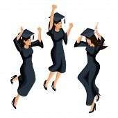 Isometry Of A Graduate Girl, Jumping Is Happy, Academic Attire, Diploma, Mantle, Academic Cap. Set O poster