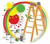 Step-ladder And Paints