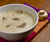 Close up of mushroom soup.