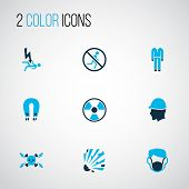 Protection Icons Colored Set With Head Protection, Protective Clothing, Dust Mask And Other Electric poster